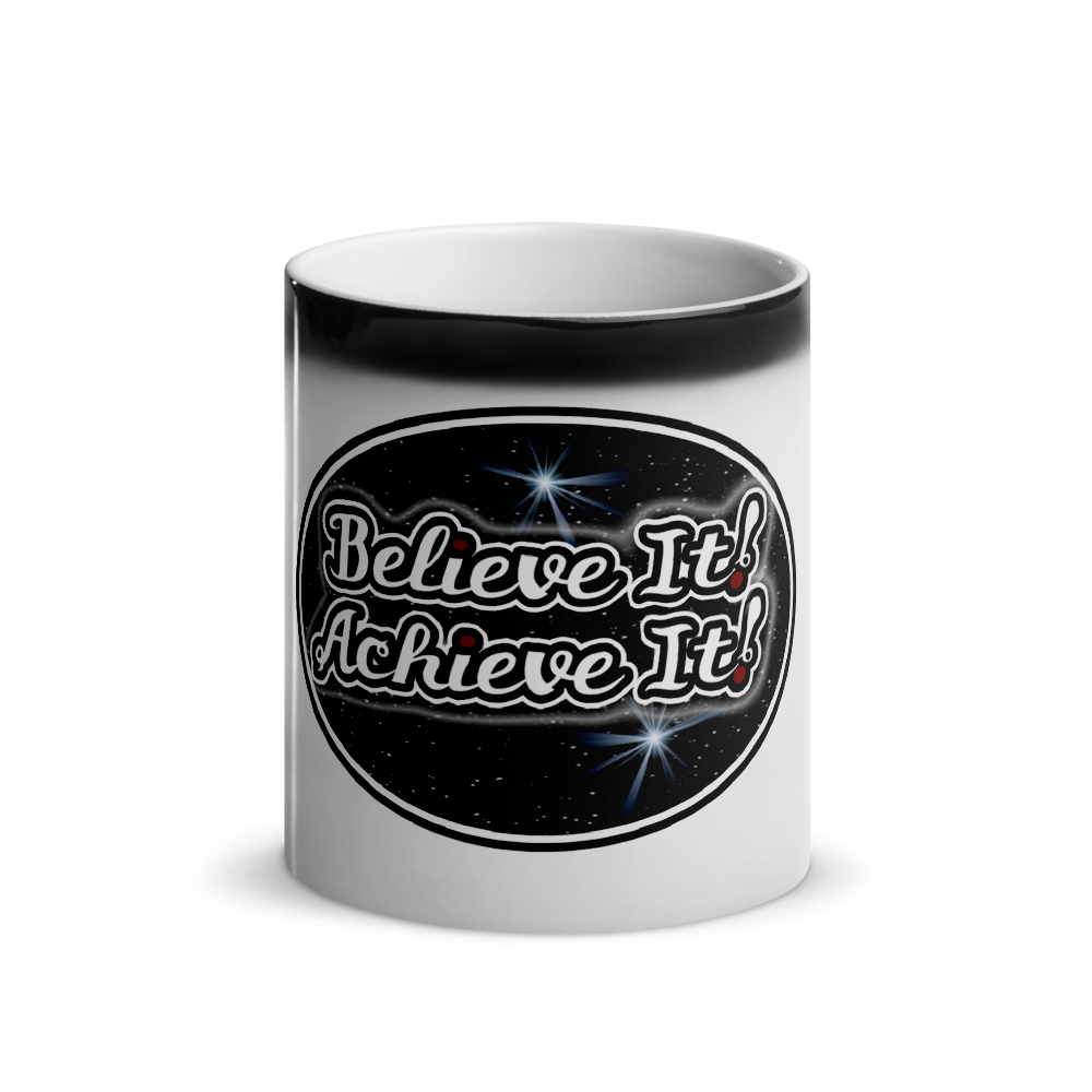 Max La Vida Believe It! Achieve It! Faded Black Coffee Cup Motivation Mugs
