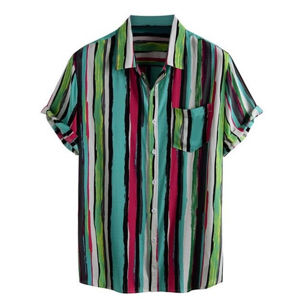 Mens Summer Shirt Colorful Red Stripe Button Up Short Sleeve Loose Henley Men Shirts Top M-3X