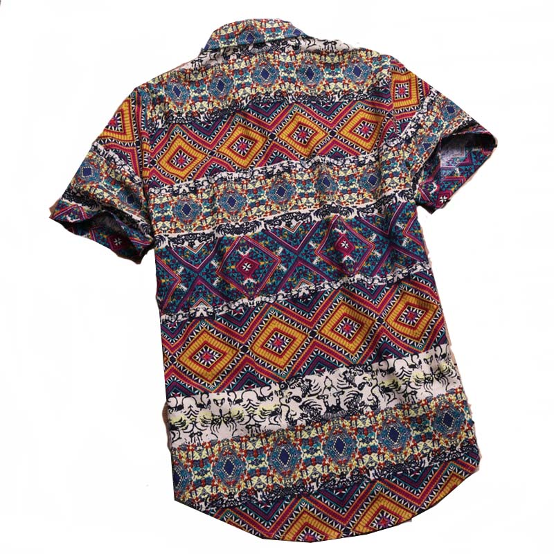 Mens Hawaiian Luau Button Shirts Vintage Bohemian Pullover Collar Men Summer Tops M-5XL