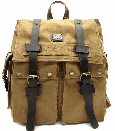 Top Quality Canvas Designer Messenger Backpack Rucksack Military Vintage Leather Straps Mochila Khaki School Laptop Work Bags Travell Well - Travell Well