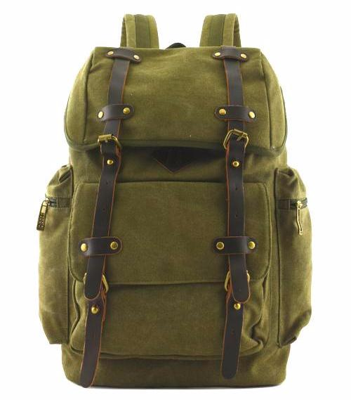 Quality Canvas Designer Backpack Genuine Leather Sraps Vintage Rucksack Heavy Duty Travell Well in Stylish Green Satchel - Travell Well