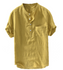 Men Best Basic Solid Color Men's Button Shirts Breathable Cotton Short Sleeve Yellow Tops M-4XL