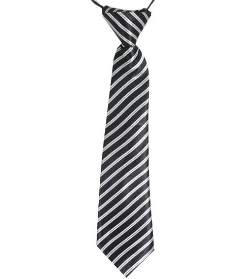 Jr Ties Boys Black White Stripe Tie Kids Teen / Boy Mid-Size Striped Dress Ties