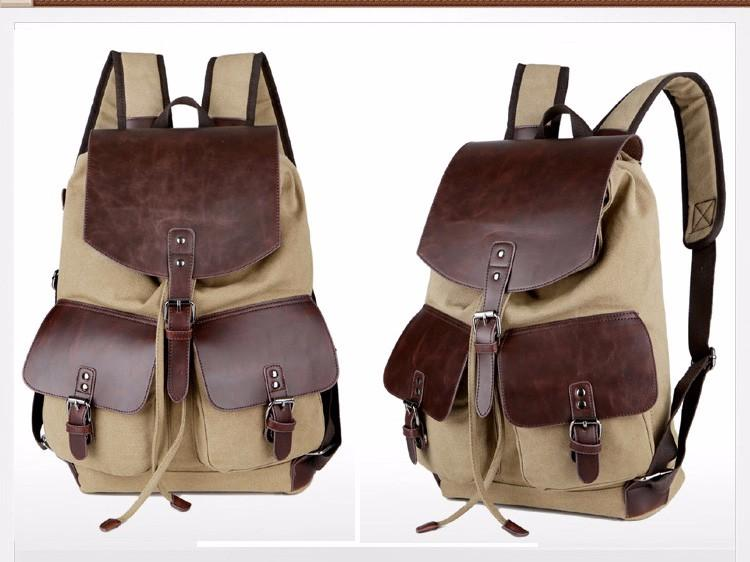 Quality Vintage Backpack Canvas Microfiber Leather Men Women Khaki Tan Rucksack Shoulder Carry On - Travell Well