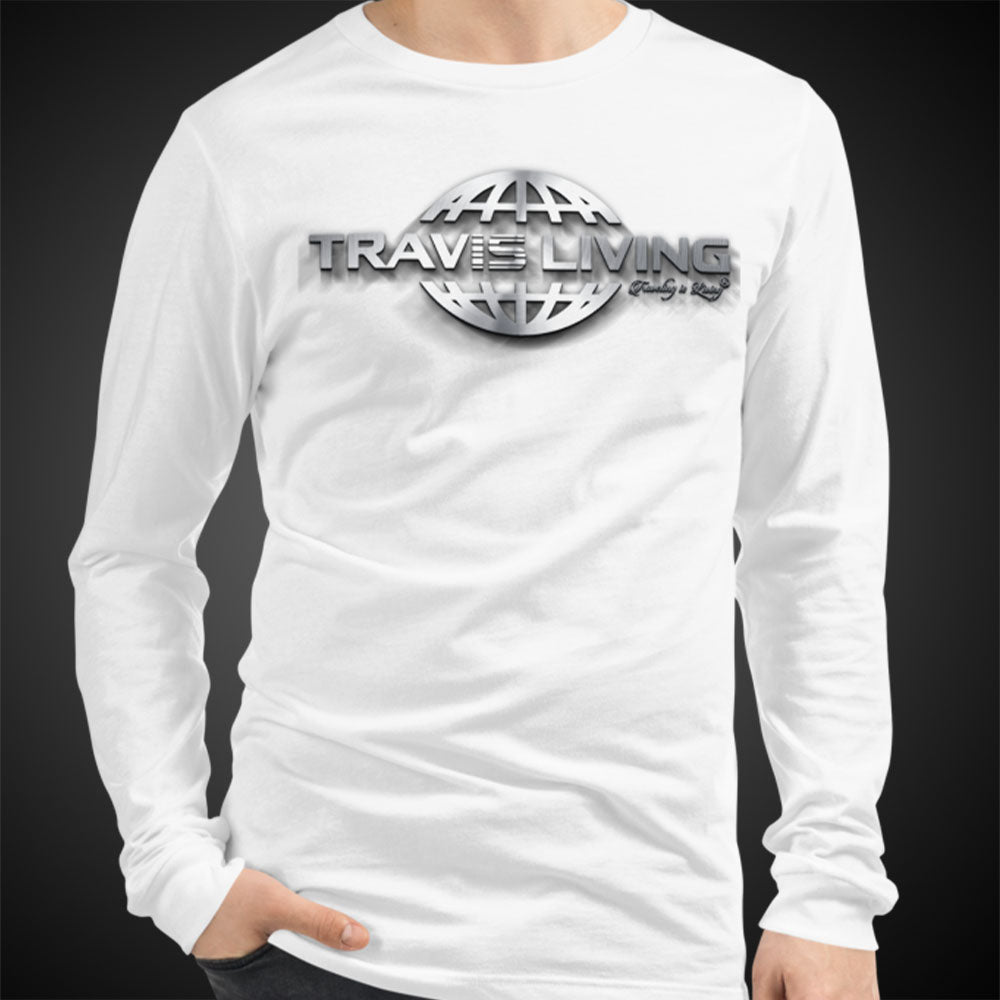 Travis Living Long Sleeve Shirt Mens Travel World 3D Globe Platinum T-Shirt Men Tees