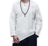 Men's Vintage V-Neck Shirt Long Sleeve Solid Cotton Linen Chemise Casual Long Shirts Tops L-5XL