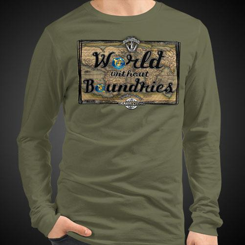 World Without Boundaries Travel Tee Men's Long Sleeve Shirt Authentic Quality Men's Shirts - Travell Well