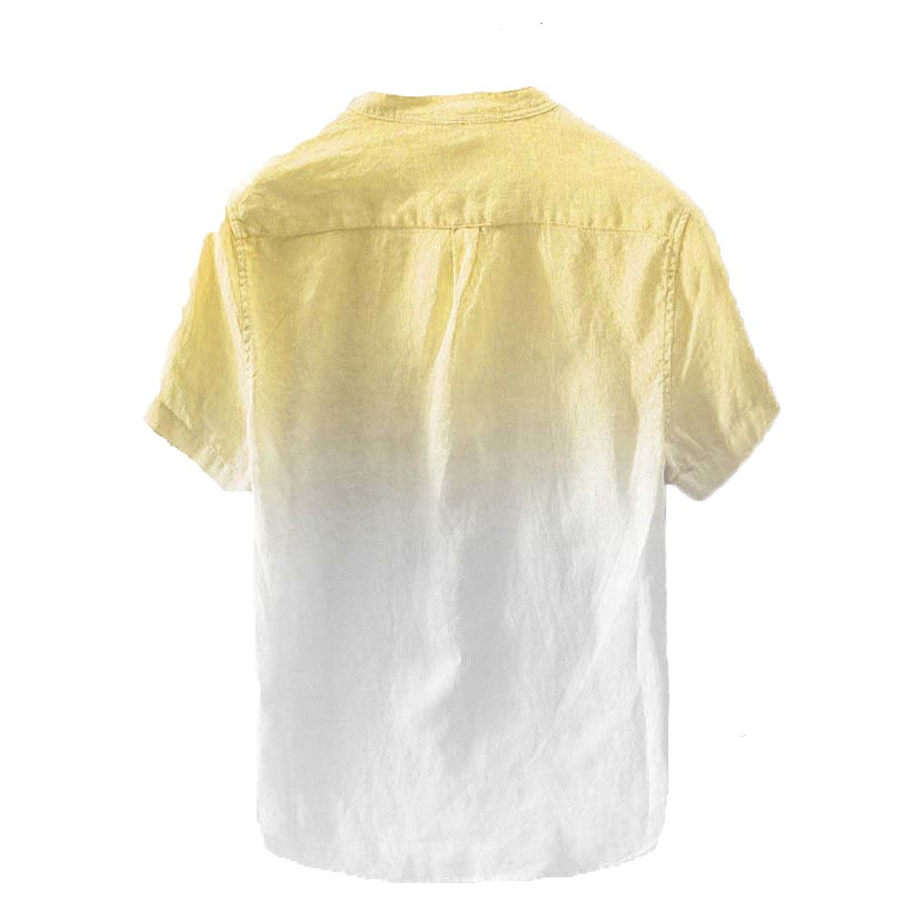 Stylish Summer Men's Shirt Cool Thin Cotton Button Up Collar Yellow Gradient Dye Color Shirts M-3XL
