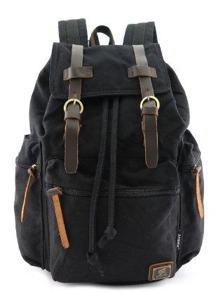 Travel Canvas Backpack Military Rucksack Mochila in Black Khaki Army Green Travell Well - Travell Well