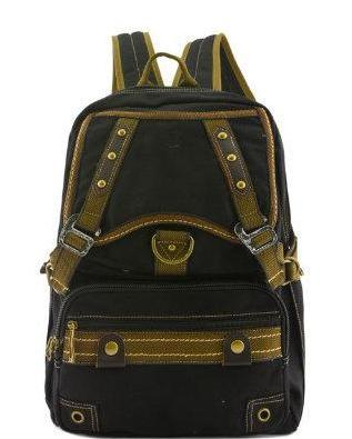 Canvas Backpack Vintage Look Rucksack Leather Trim Black School Bag - Travell Well