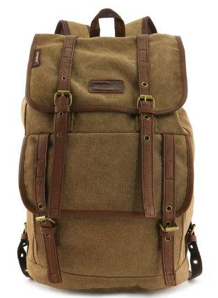 Globetrotter Canvas Backpack Military Travel Rucksack Coffee Brown Army Green Black Travell Well Quality Bags - Travell Well