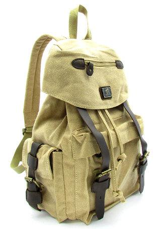 Military Green Canvas Backpack Travel Rucksack Genuine Leather Trim Green Army Backpacks - Travell Well