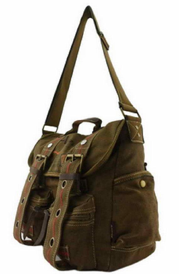 Quality Canvas Messenger Bag Military Straps Rucksack Vintage Messenger Laptop Stylish Cross Shoulder Bags Travell Well Green | Khaki | Coffee | Black - Travell Well