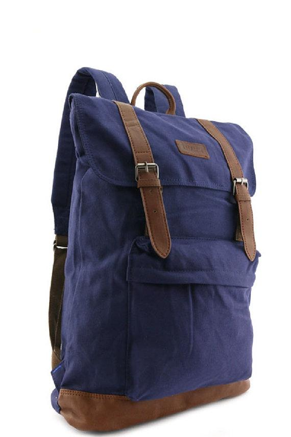 Designer Blue Canvas Travel Backpack Rucksack Multi-Functional Large Quality Travell Well Backpacks Blue Laptop School Bag - Travell Well