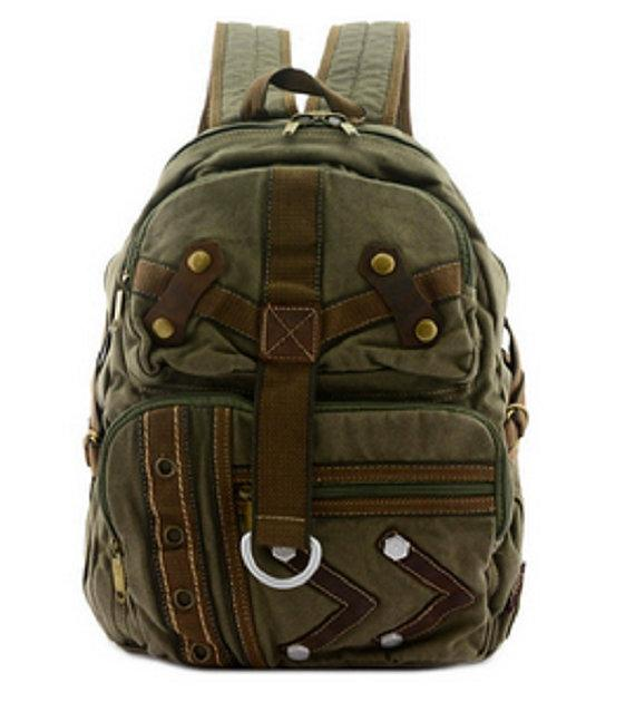 Quality Travel Canvas Backpacks Khaki Tan Military Rustic Rucksack Vintage Backpack - Travell Well