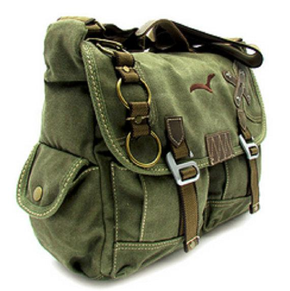 Quality Canvas Messenger Cross Shoulder Bag Rustic Vintage Military Rucksack Black Unique Buckles Straps Stylish Laptop Work School Bags Travell Well in Black Green Brown Khaki - Travell Well