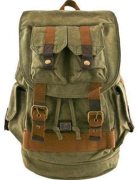 Travel Canvas Backpack Military Rucksack Rustic Vintage Khaki Tan Quality Backpacks Leather Trim - Travell Well