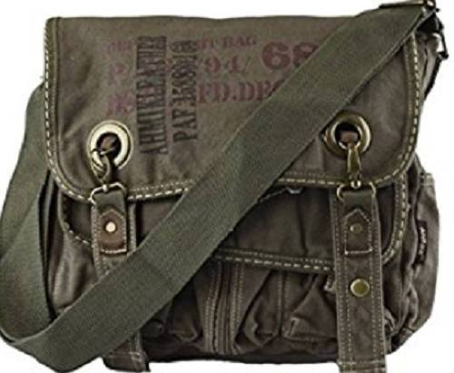 Canvas Military Bags Vintage Style Army Shoulder Messenger Bag Quality Made Classic Distressed Canvas Bags Travell Well in Khaki Black Green - Travell Well