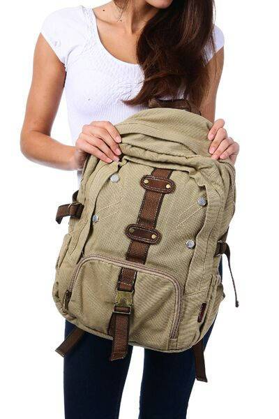 Canvas Backpack Quality Rucksack Rustic Vintage Travel Style Bags Black | Khaki | Green Backpacks - Travell Well