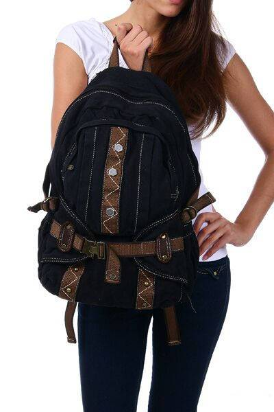 Black Canvas Backpack Rucksack Vintage Rustic Quality Designer Stylish Travel Bags - Travell Well