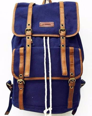 Designer Navy Blue Canvas Travel Backpack Rucksack Leather Trim Multi-Functional Vintage Travell Well Quality Backpacks - Travell Well