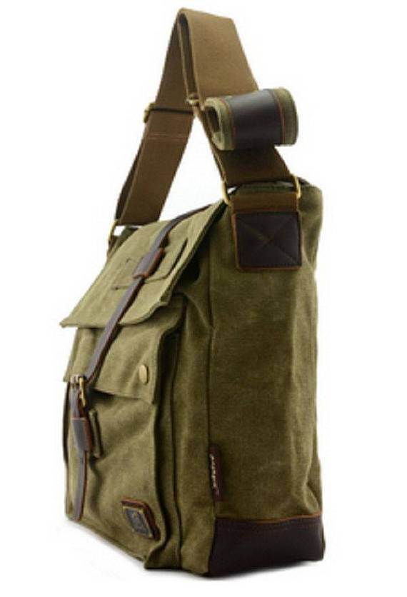 Quality Canvas Messenger Bag Rucksack Leather Strap Vintage Military Style Satchel Shoulder Laptop Work-School Bags Travell Well in Black Green Khaki - Travell Well