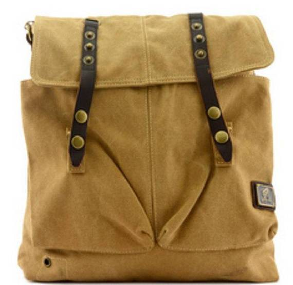 Quality Vintage Canvas Messenger Bag Military Style Cross-Shoulder Satchel Rucksack Leather Strap Laptop Bags Travell Well in Khaki Tan Black Green - Travell Well