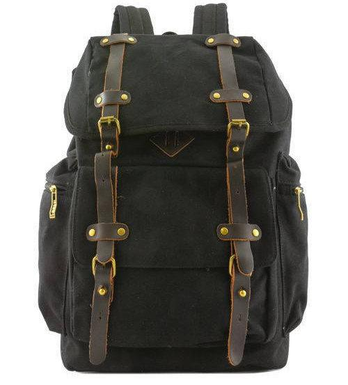 Quality Canvas Designer Backpack Genuine Leather Straps Vintage Rucksack Travell Well in Stylish Brown Satchel - Travell Well