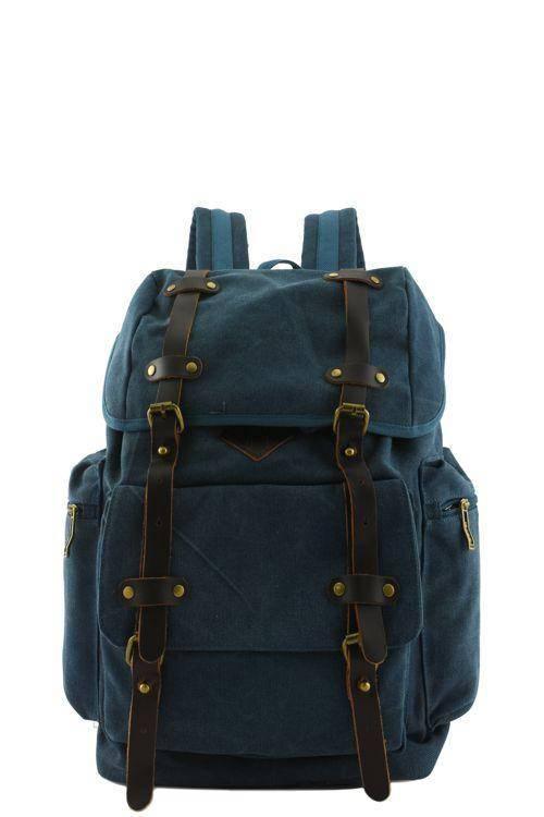 Quality Canvas Designer Backpack Genuine Leather Trims Vintage Rucksack Travell Well in Stylish Blue Satchel - Travell Well