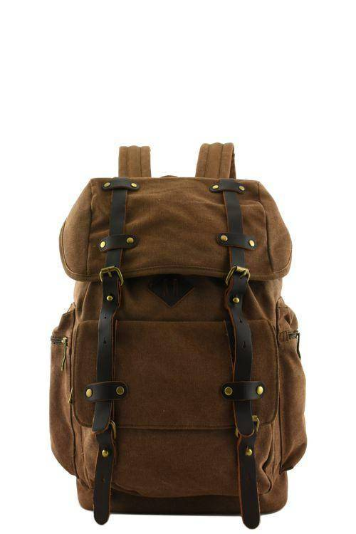 Quality Canvas Designer Backpack Genuine Leather Straps Vintage Rucksack Travell Well in Stylish Black Satchel - Travell Well
