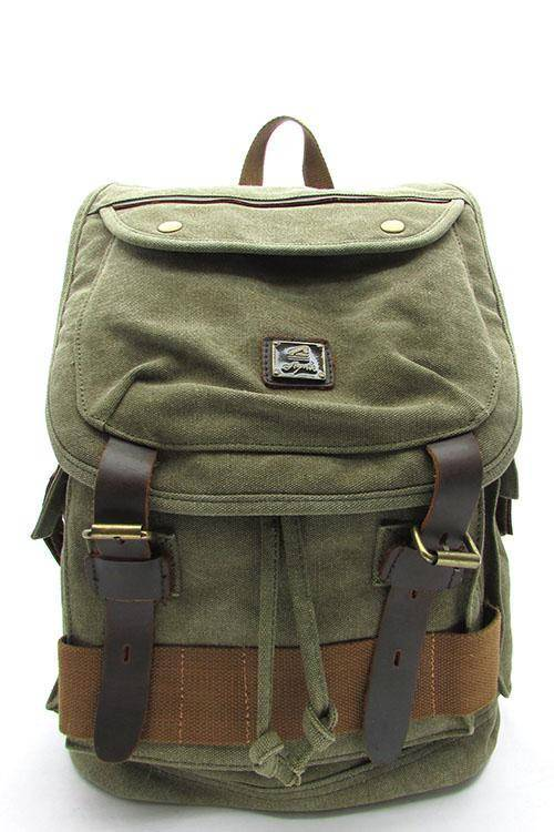 Quality Travel Canvas Backpack Military Rucksack Khaki Tan Beige | Black | Army Green - Travell Well
