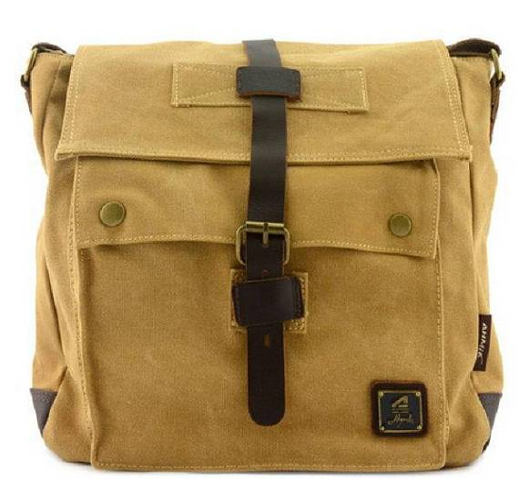 Quality Canvas Messenger Bag Rucksack Leather Strap Vintage Military Style Satchel Shoulder Laptop Work-School Bags Travell Well in Army Green Khaki Black - Travell Well