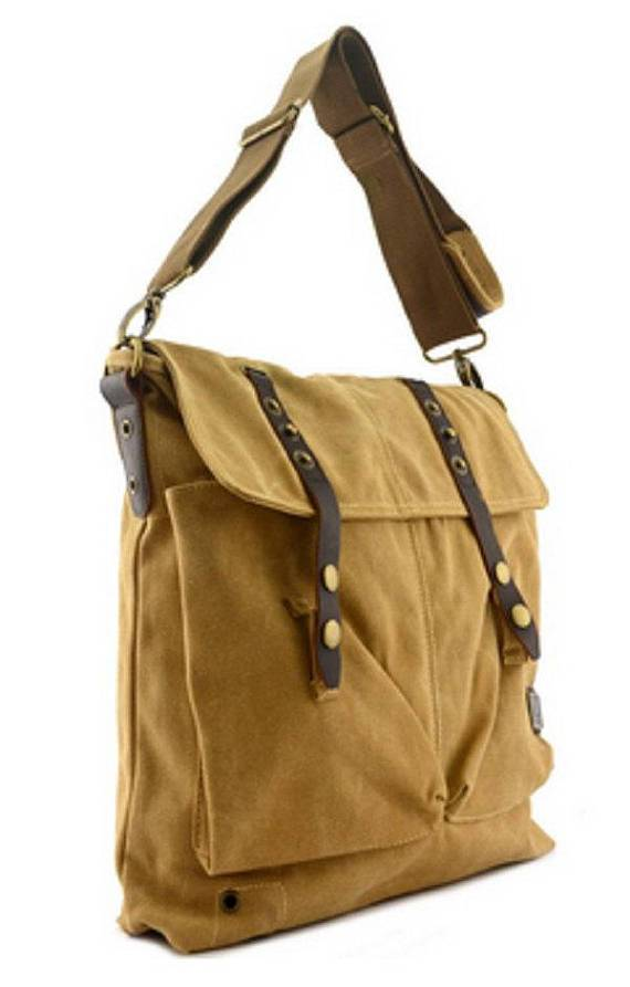 Quality Vintage Canvas  Military Style Satchel Cross Shoulder Messenger Bag Rucksack Leather Strap Laptop Bags Travell Well in Army Green Black Khaki - Travell Well