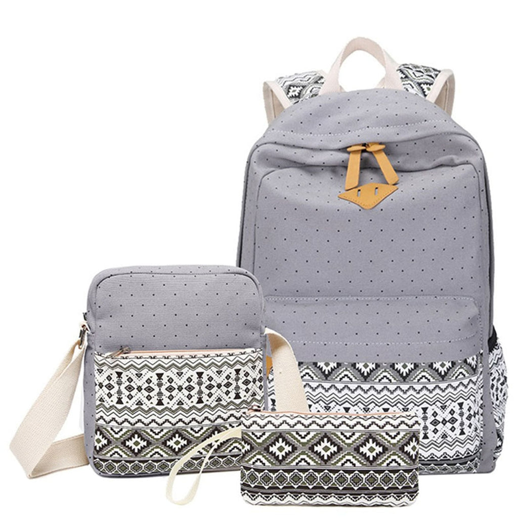 Women Canvas Printing 3 Pcs Set Polka Backpack