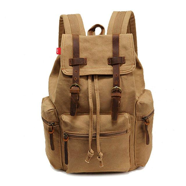 Backpack Khaki Tan Vintage Rucksack Outdoor Large Capacity Canvas Backpacks Mochila School Travel Bags - Travell Well