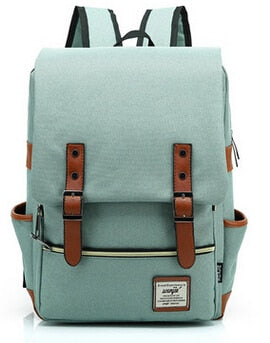 Canvas Backpack Vintage Style School Bags Large Mochilas Escolares Quality Sky Blue Backpacks