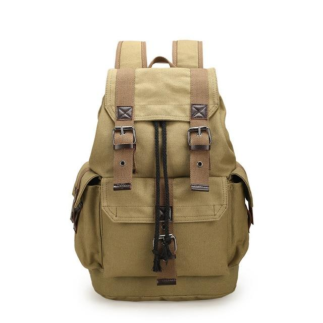 Men's Canvas Vintage Rucksack Travel Drawstring Backpack - Travell Well