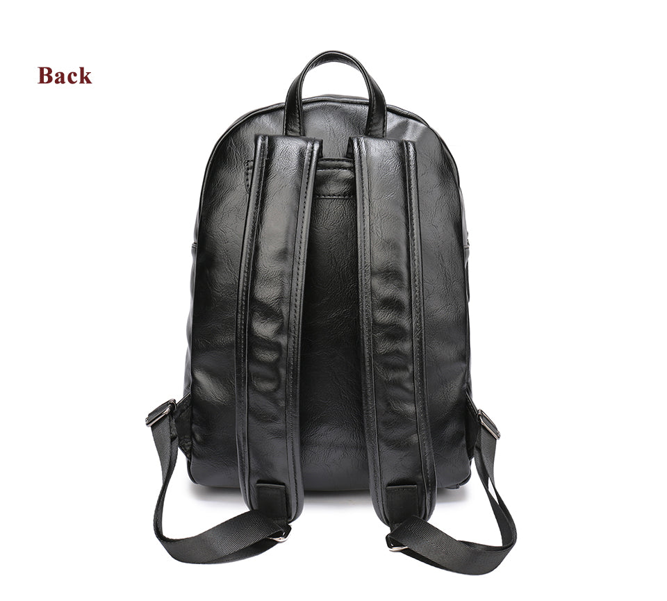 Best Casual Backpack Black PU Leather Business School Backpack Bag Portable 13 Inch Laptop Backpack