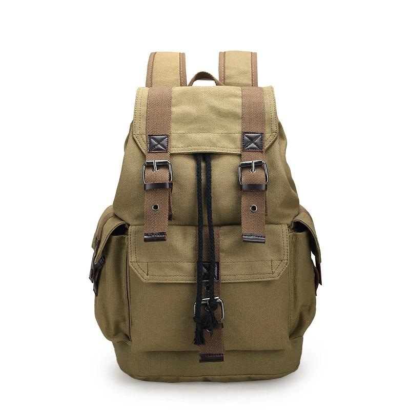 Vintage Canvas Backpack School Bag Travel Bags Large Capacity Backpacks Black Coffee Khaki - Travell Well