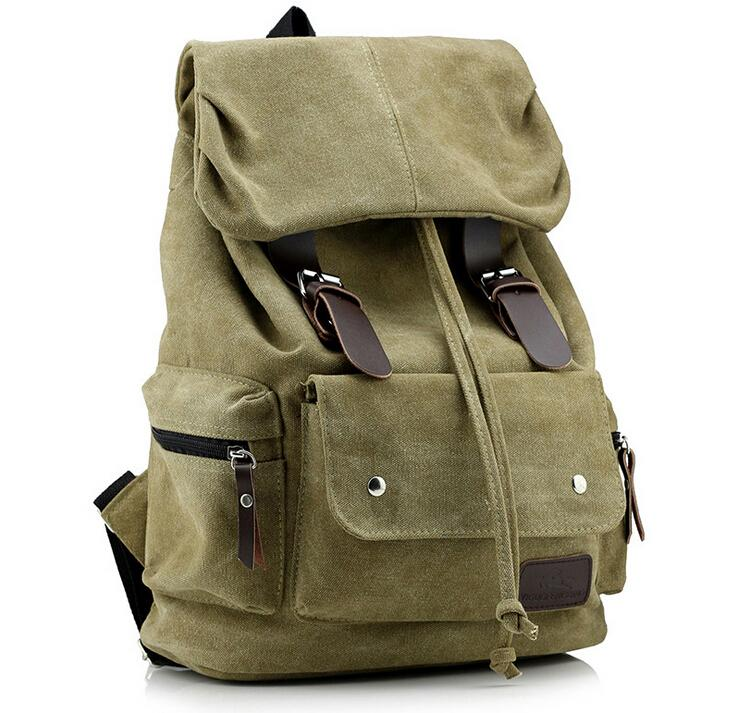 Top Canvas Backpack Vintage Brown Rucksack Sac à dos Women Men Mochila School Bag Army Green Blue Black Travel Bags - Travell Well