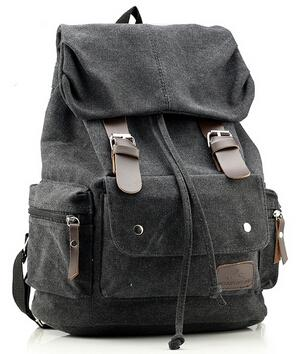 Top Canvas Backpack Vintage Khaki Tan Rucksack Sac à dos Women Men Mochila School Bag Army Green Blue Brown Black Travel Bags - Travell Well