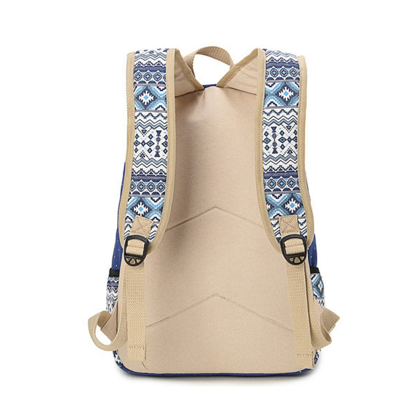 Women Canvas Black Print Cultural Backpack