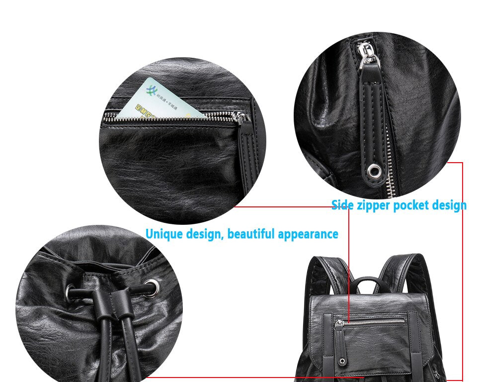 Designer Style Casual Backpacks School Black PU Leather Travel Bag Men's Daypacks Fashion Backpack