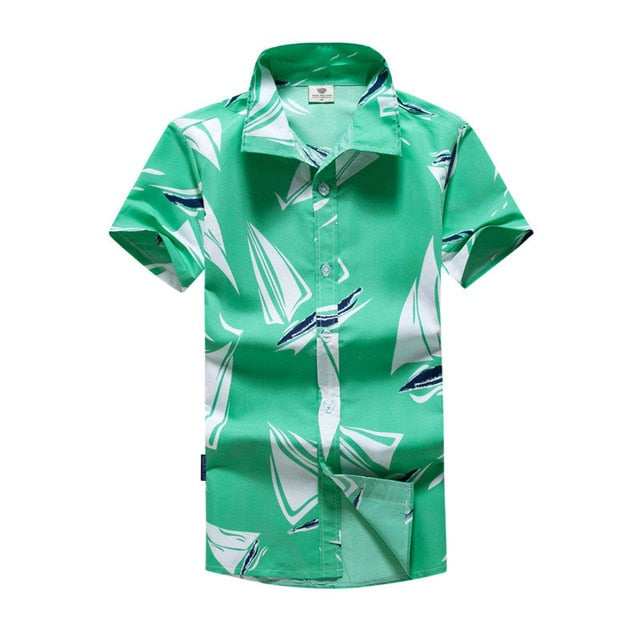 Mens Hawaiian Shirt Palm Trees Button Top Vintage Island Beach Summer Collar Shirts L-5XL