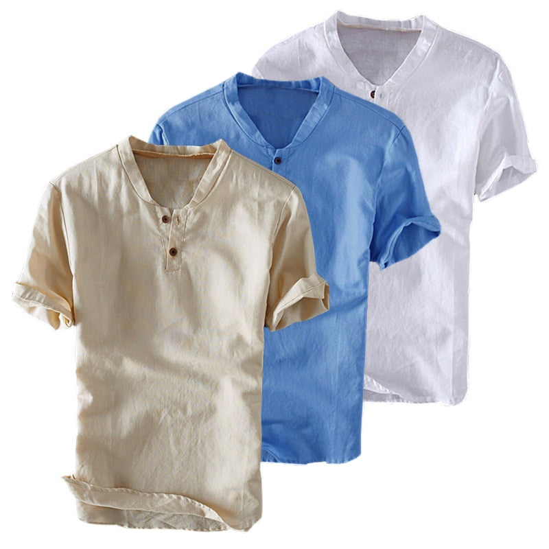 Men's Summer Shirts Basic Solid White Slim Fit Button Shirt Cotton Short Sleeve Mens Tops M-3XL