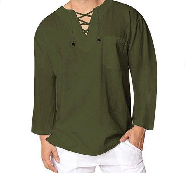 Vintage Shirt Classic V-Neck Lace Up Men's Long Sleeve Shirt Army Green Top Baggy Pocket M-3XL