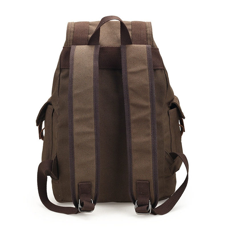 Canvas Backpack Vintage Rucksack BEST Basic Reliable Stylish School Bag Laptop Black Backpacks