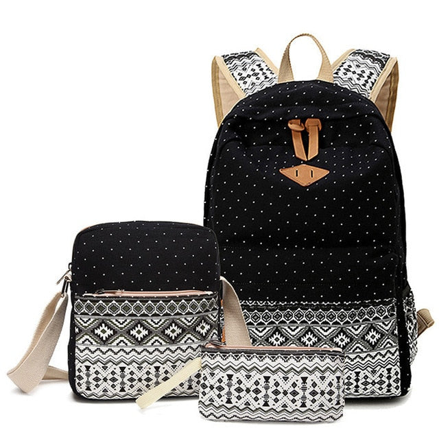 Women Canvas Printing Black Set Travel Backpack