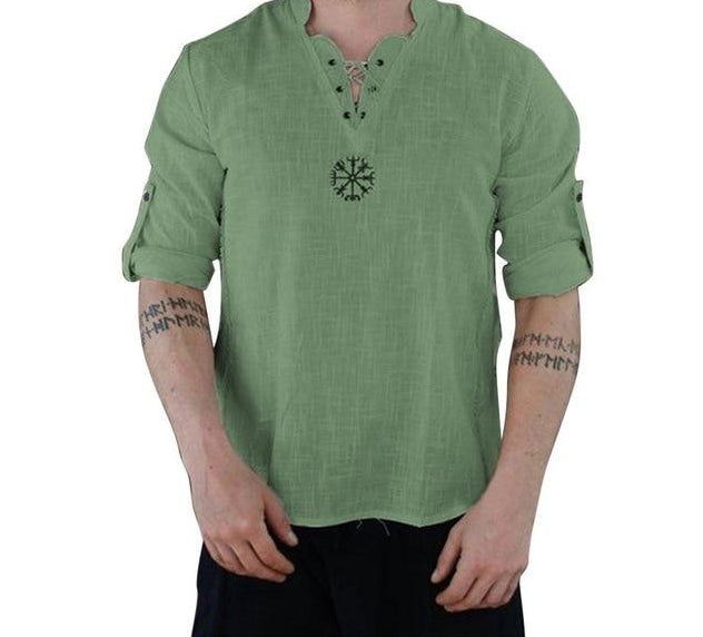 Men's Vintage V-Neck Lace Up Shirt Classic Long Sleeve Cotton Linen Mens Shirts Green Tops M-3XL
