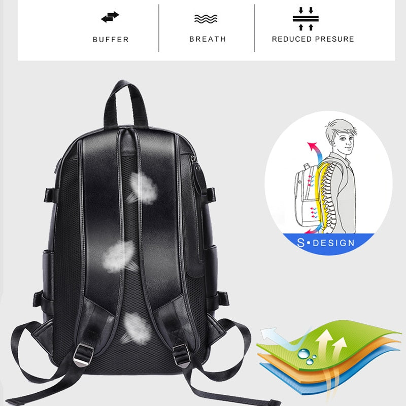 "Top Quality USB Charging Backpack Waterproof Buffer 14 "" Laptop Bag PU Leather Business Travel Bags"